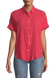 Rag & Bone Button-Front Short-Sleeve Tie Shirt