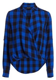 rag & bone Camile Buffalo Check High-Low Blouson Shirt