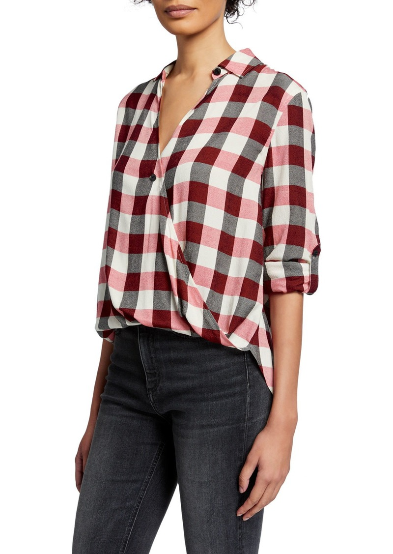 rag & bone Camile Plaid Surplice Long-Sleeve Shirt