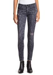 rag & bone Cate Mid-Rise Python-Print Distressed Ankle Skinny Jeans