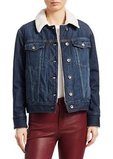 rag & bone Chelsea Faux Fur Collar Denim Trucker Jacket