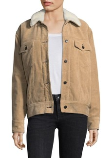 Rag & Bone Corduroy & Shearling Collar Trucker Jacket