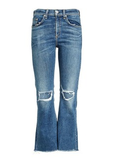 Rag & Bone Cropped Flare Denim with Distressed Detail