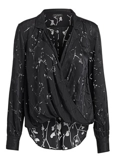 rag & bone Dean Burnout Floral Plunging Wrap Blouse