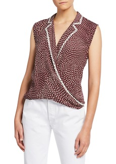 rag & bone Dean Dot-Print Sleeveless Wrap Top