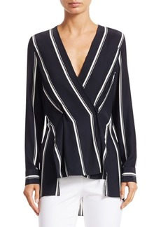 Rag & Bone Debbie Silk Long-Sleeve Striped Wrap Top