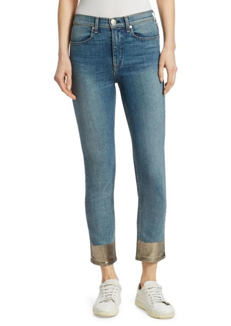 Rag & Bone Ankle Dip Dyed Hem Cigarette Jeans