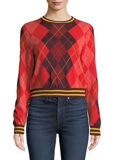 Rag & Bone Dex Cropped Argyle Crewneck Sweater