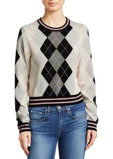 Rag & Bone Dex Wool Argyle Cropped Sweater