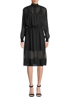 Rag & Bone Dinah Silk High-Neck Long-Sleeve Dress