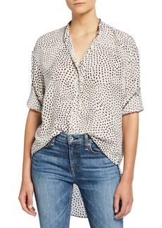 rag & bone Dirdre Dotted Button-Front Long-Sleeve Blouse