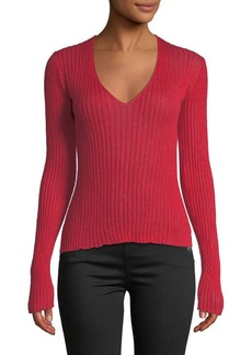 Rag & Bone Donna Ribbed Mohair V-Neck Sweater