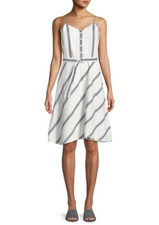 Rag & Bone Doris Striped Cotton/Linen Button-Front Dress
