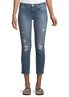 rag & bone Dre Mid-Rise Slim Straight-Leg Ankle Jeans w/ Splatter Paint