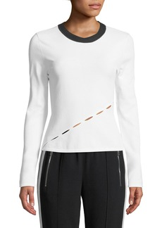 Rag & Bone Eden Long-Sleeve Crewneck Top with Slit Details
