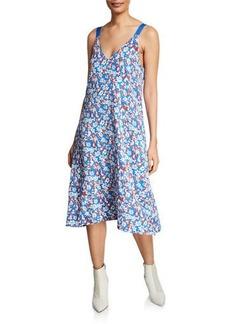 Rag & Bone Estell V-Neck Floral Sleeveless Midi Dress