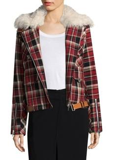 Rag & Bone Etiene Shearling-Trimmed Plaid Jacket