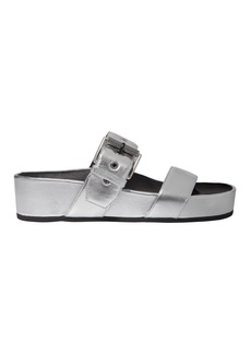 Rag & Bone Evin Silver Leather Platform Sandals