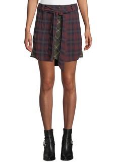 Rag & Bone Felicity Plaid Tie-Waist Button Skirt