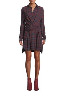 Rag & Bone Felicity Plaid Wrap-Front Long-Sleeve Shirtdress