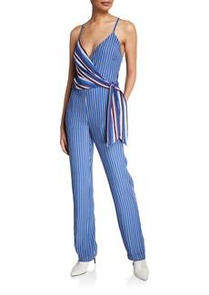 rag & bone Felix Mixed-Stripe Sleeveless Wrap Jumpsuit