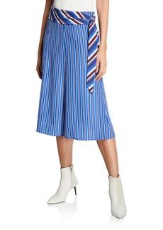 Rag & Bone Felix Striped Belted Midi Skirt