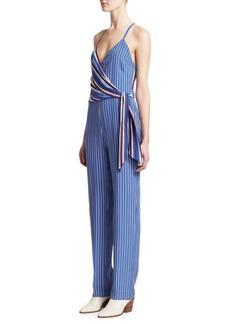 rag & bone Felix Striped Silk Jumpsuit