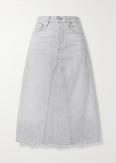 rag & bone Frayed Denim Midi Skirt