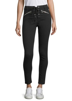Rag & Bone Gia High-Rise Lace-Up Skinny Jeans
