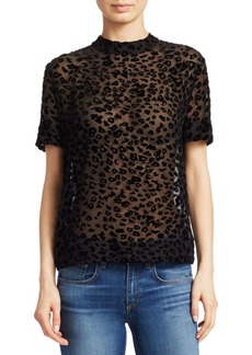 Rag & Bone Gia Leopard Print Burnout Velvet Tee