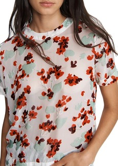 rag & bone Gigi Floral Stretch-Silk Short-Sleeve Blouse