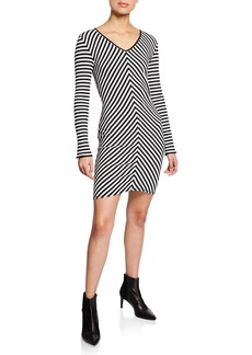 Rag & Bone Halifax Striped V-Neck Long-Sleeve Mini Dress