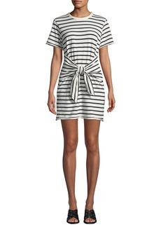 Rag & Bone Halsey Crewneck Tie-Neck Striped Cotton Dress