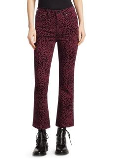 Rag & Bone Hana High-Rise Cheetah Bootcut Crop Jeans