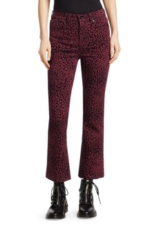 rag & bone Hana Cheetah-Print Cropped Bootcut Jeans