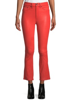 Rag & Bone Hana Cropped Leather Boot-Cut Pants