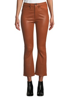 Rag & Bone Hana High-Rise Cropped Flare-Leg Leather Pants
