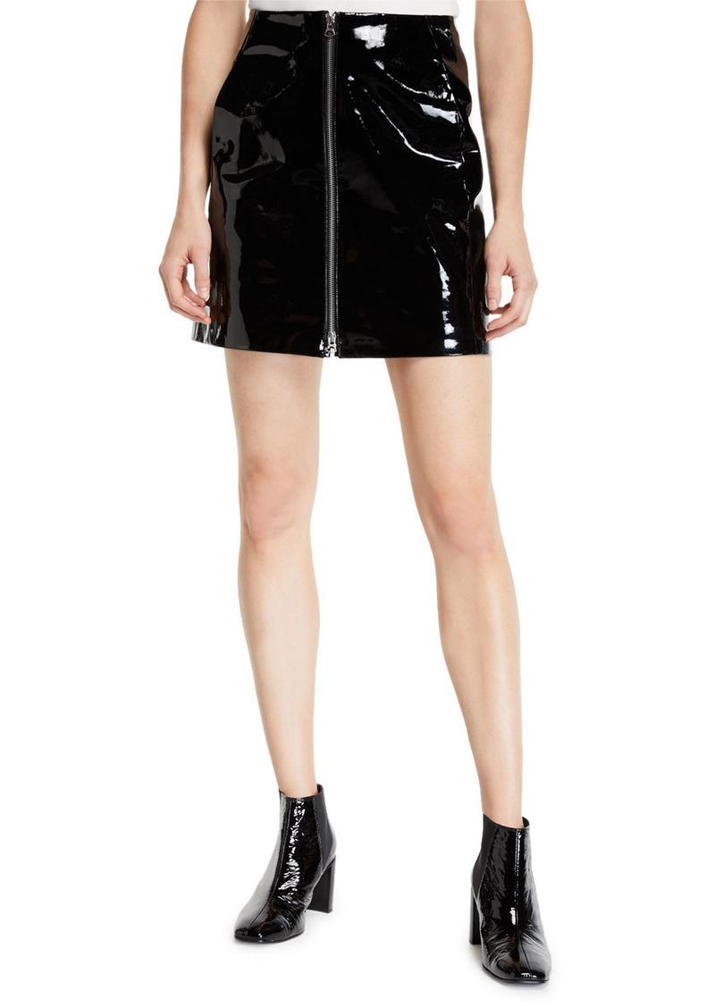 rag & bone Heidi Patent Leather Zip Front Mini Skirt