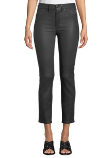 Rag & Bone High-Rise Ankle Leather Cigarette Pants