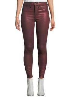 Rag & Bone High-Rise Metallic Ankle Skinny Jeans