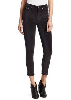 Rag & Bone High-Rise Velvet Skinny Jeans