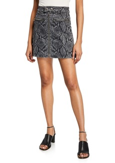 Rag & Bone Isabel High-Rise Snake-Print Mini Skirt