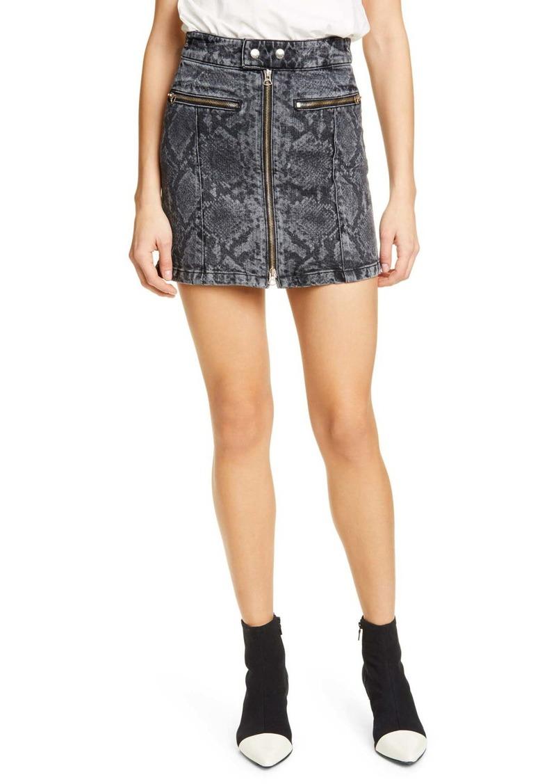 rag & bone Isabel Snakeskin Print Zip Mini Skirt
