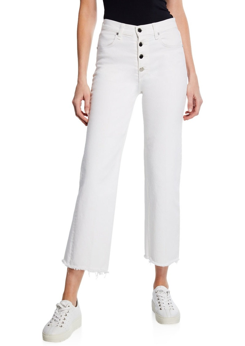 rag & bone Justine Cropped Wide-Leg Jeans with Button Fly