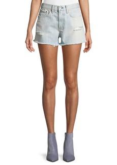 Rag & Bone Justine High-Rise Frayed Denim Shorts