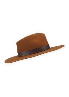 rag & bone Kacy Wool Fedora Hat w/ Leather Trim