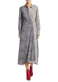 Rag & Bone Karen Silk Asymmetric Leopard Print Shirtdress