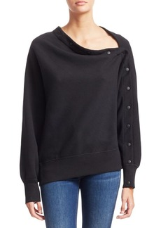 Rag & Bone Kate Cotton Snap Detail Modular Sweatshirt