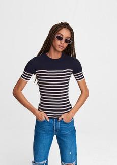 rag & bone Kate Striped Cotton Cashmere Short Sleeve