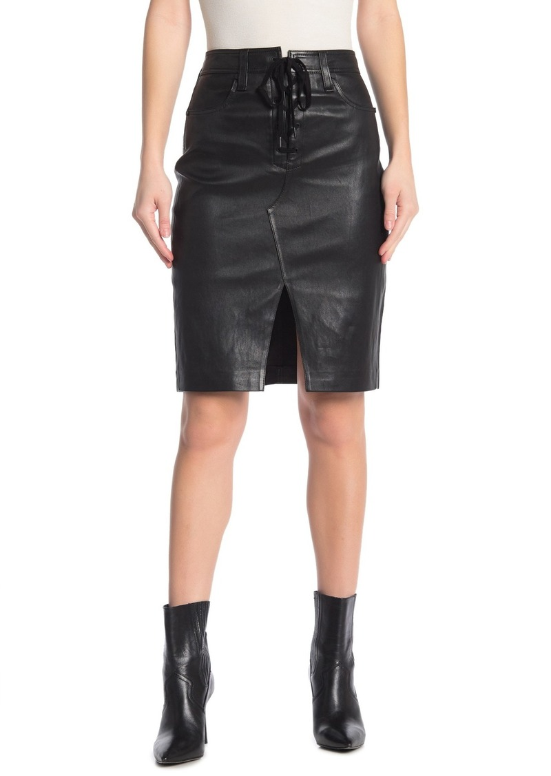 rag & bone Lace-Up Leather Vent Skirt